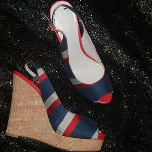 Nine West Red/Navy/tan /White Striped Wedges